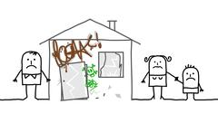 Stock Illustration of family & unsafe home