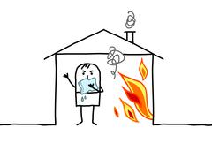 Man in house & fire Stock Illustration
