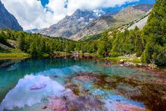 Pristine mountain lake - stock photo