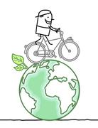 Stock Illustration of cartoon man and bike on earth