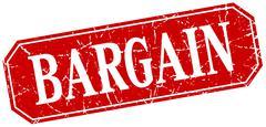 Bargain red square vintage grunge isolated sign Stock Illustration