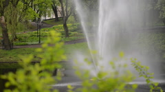 Fountain in a City Park Stock Footage