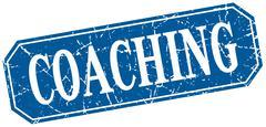 coaching blue square vintage grunge isolated sign - stock illustration