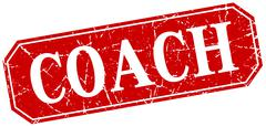 coach red square vintage grunge isolated sign - stock illustration