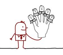 boss with five puppets employees on fingers - stock illustration