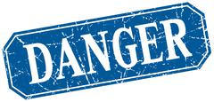 danger blue square vintage grunge isolated sign - stock illustration