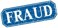 fraud blue square vintage grunge isolated sign - stock illustration