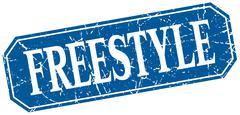 freestyle blue square vintage grunge isolated sign - stock illustration