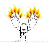 man with ten burning fingers - stock illustration