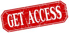 Get access red square vintage grunge isolated sign Stock Illustration