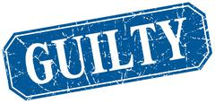 Stock Illustration of guilty blue square vintage grunge isolated sign
