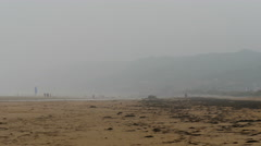 Foggy view of the sea shore in Omaha Beach - stock footage