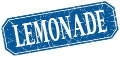 lemonade blue square vintage grunge isolated sign - stock illustration