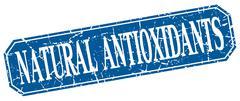 natural antioxidants blue square vintage grunge isolated sign - stock illustration