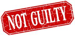not guilty red square vintage grunge isolated sign - stock illustration