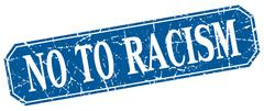 No to racism blue square vintage grunge isolated sign Stock Illustration