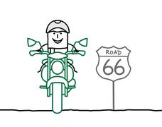 Biker on the road Stock Illustration