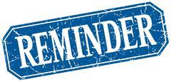 Reminder blue square vintage grunge isolated sign Stock Illustration