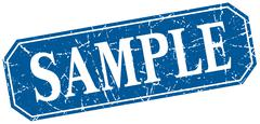 sample blue square vintage grunge isolated sign - stock illustration
