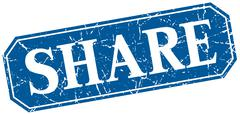 share blue square vintage grunge isolated sign - stock illustration