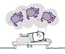 sleeping man & nighhtmare - stock illustration