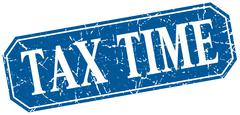 Tax time blue square vintage grunge isolated sign Stock Illustration