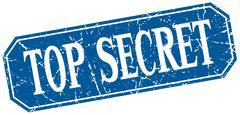 top secret blue square vintage grunge isolated sign - stock illustration