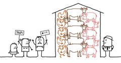 cartoon people saying NO to intensive  production of meat - stock illustration