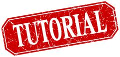 tutorial red square vintage grunge isolated sign - stock illustration