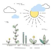 Stock Illustration of Vector nature and ecology illustration in linear style