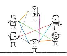 Stock Illustration of group of people connected by color lines