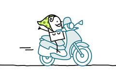 woman on scooter - stock illustration