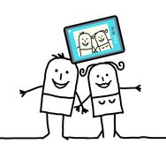 Stock Illustration of cartoon couple sending a picture of themselves