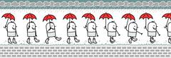 Walking man with umbrella & rain boots Stock Illustration