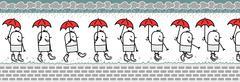 Walking man with umbrella & rain boots Piirros