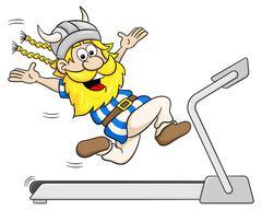 Stock Illustration of viking jogging on a treadmill