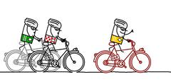 3 racing cyclists - stock illustration