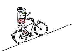 cyclist & mountain - stock illustration