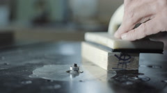 Hand of the Master Cutting Board on Woodworking Machines. Stock Footage