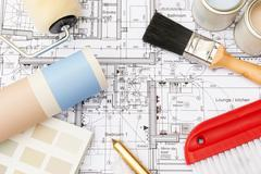 Decorating Components Arranged On House Plans Stock Photos