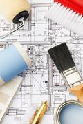Decorating Components Arranged On House Plans - stock photo