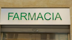 Farmacia sign. Palermo, Sicily, Italy. Stock Footage