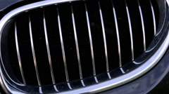Close up of a grill of a sport car Stock Footage