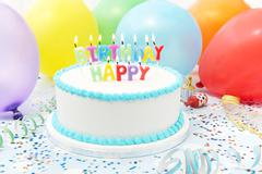 Celebration Cake With Candles Spelling Happy Birthday Stock Photos