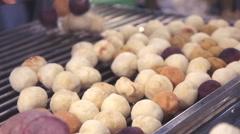 Grilled Sweet Potato (Thai Dessert) Stock Footage