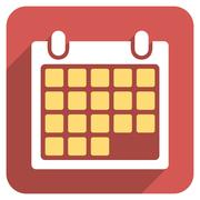 Month Calendar Flat Rounded Square Icon with Long Shadow - stock illustration