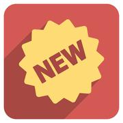 New Tag Flat Rounded Square Icon with Long Shadow - stock illustration