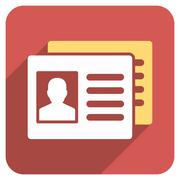 Patient Accounts Flat Rounded Square Icon with Long Shadow Stock Illustration
