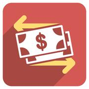Spend Banknotes Flat Rounded Square Icon with Long Shadow - stock illustration