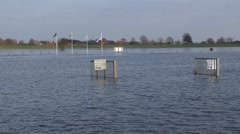 Drowned quay and industrial area, due to high water level in the floodplains Stock Footage